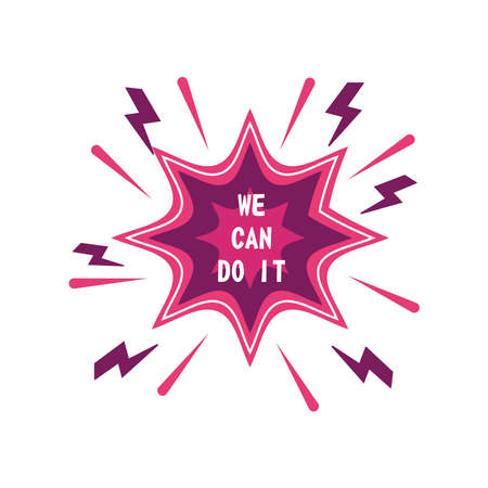 feminism we can do it explosion bubble detailed style icon design international movement theme Vector illustration Иллюстрация