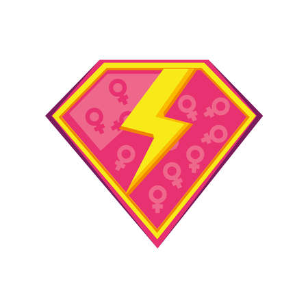 feminism thunder with genders in shield detailed style icon design international movement theme Vector illustration