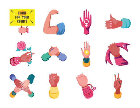 feminism detailed style set icons design international movement theme Vector illustration Иллюстрация
