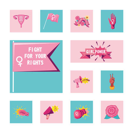 feminism detailed style collection of icons design international movement theme Vector illustration