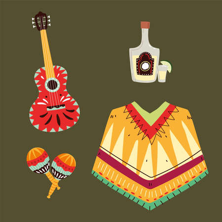 set of mexican symbols, mexican celebration icons vector illustration design
