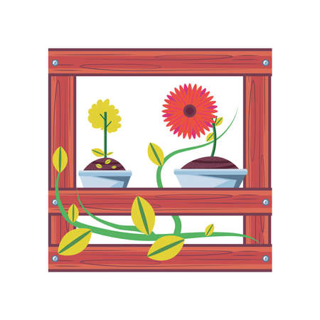 flowers inside pots in shelf detailed style icon design, natural floral nature plant ornament garden decoration and botany theme Vector illustration