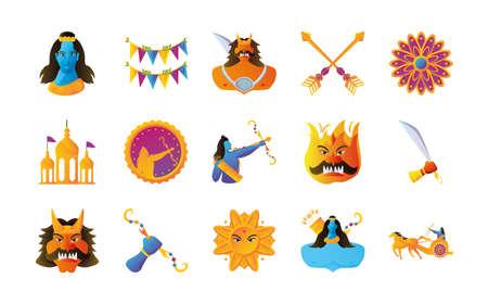 set of icons of the dussehra festival over white background vector illustration design Vetores