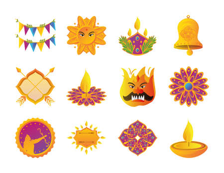 set of icons of the dussehra festival in white background vector illustration design