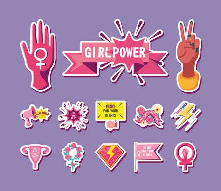 feminism detailed style bundle of icons design international movement theme Vector illustration Иллюстрация