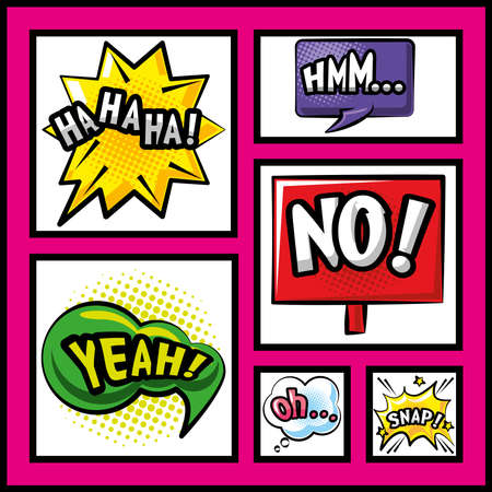 pop art bubbles detailed style collection of icons design of retro expression comic theme Vector illustration 矢量图像