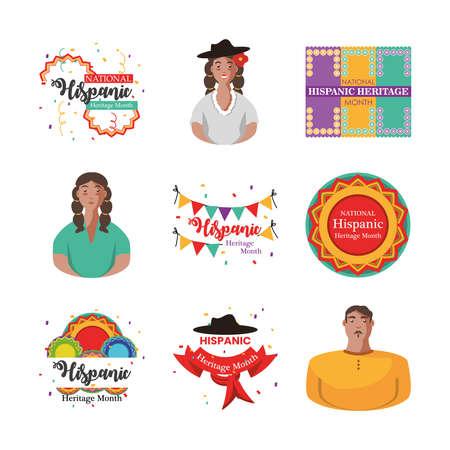 national hispanic heritage month icon set design, culture and latino theme Vector illustration