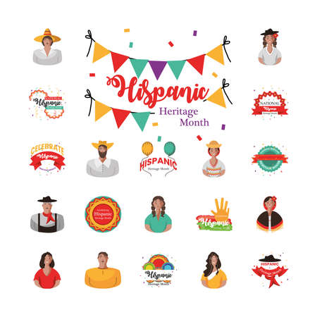 national hispanic heritage month icons group design, culture and latino theme Vector illustration