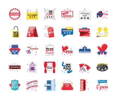 reopening detailed style 30 icon set design of shopping and covid 19 virus theme Vector illustration Vetores