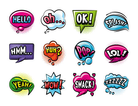 pop art bubbles detailed style set icons design of retro expression comic theme Vector illustration