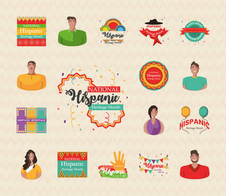 national hispanic heritage month bundle of icons design, culture and latino theme Vector illustration