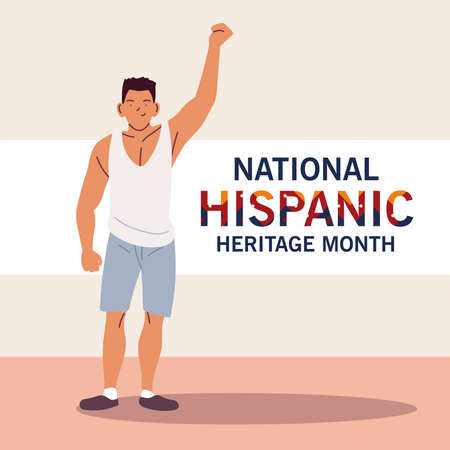 national hispanic heritage month with latin man cartoon design, culture and diversity theme Vector illustration