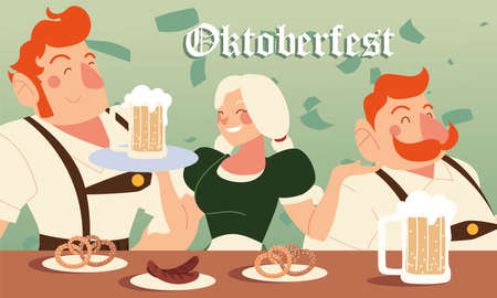 oktoberfest men and woman with beer sausages and pretzels design, Germany festival and celebration theme Vector illustration