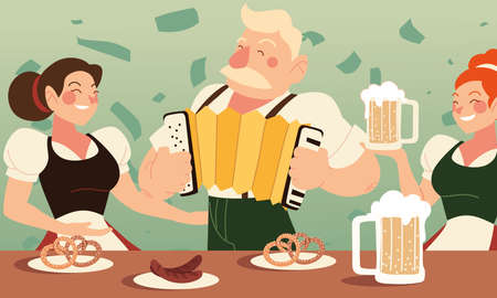 oktoberfest man and women with beer sausages and pretzels design, Germany festival and celebration theme Vector illustration