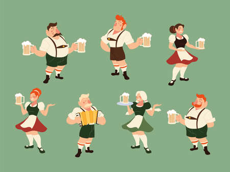 oktoberfest men and women with traditional cloth and beer design, Germany festival and celebration theme Vector illustration