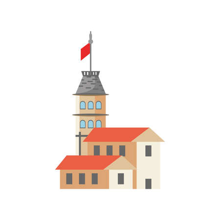 Turkish galata tower building detailed style icon design, Turkey culture travel and asia theme Vector illustration Illustration