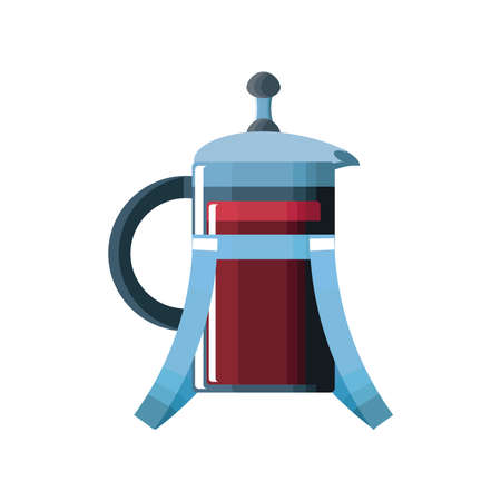 french press coffee maker on white background vector illustration design