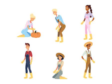 gardeners women and men cartoons design, Gardening garden planting and nature theme Vector illustration Vecteurs