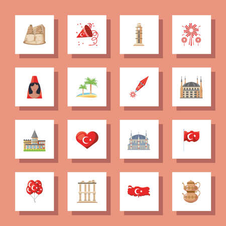 Turkish detailed style icons collection design, Turkey culture travel and asia theme Vector illustration