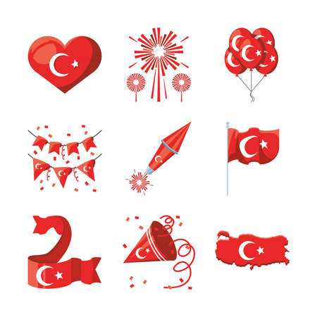 Turkish detailed style icon set design, Turkey culture travel and asia theme Vector illustration