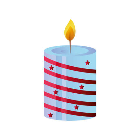 candle with christmas decoration on white background vector illustration design