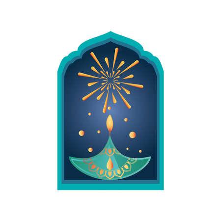 festival of lights, diwali candle at window in white background vector illustration design Ilustração