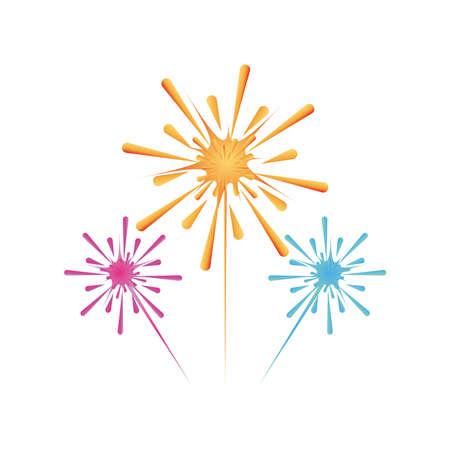 festival of lights, fireworks in white background vector illustration design Vektoros illusztráció