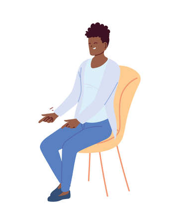 young man in casual clothes sitting on a chair vector illustration design
