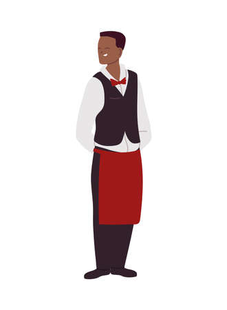 young waiter in uniform and apron vector illustration design