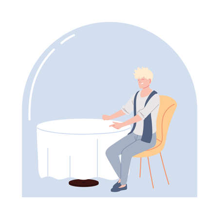 young man sitting in a restaurant vector illustration design