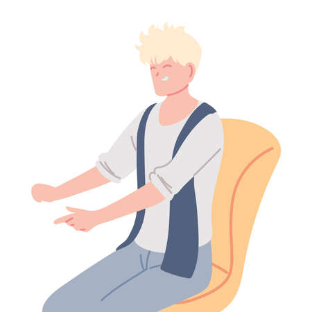 young man with cute hair sitting on a chair vector illustration design