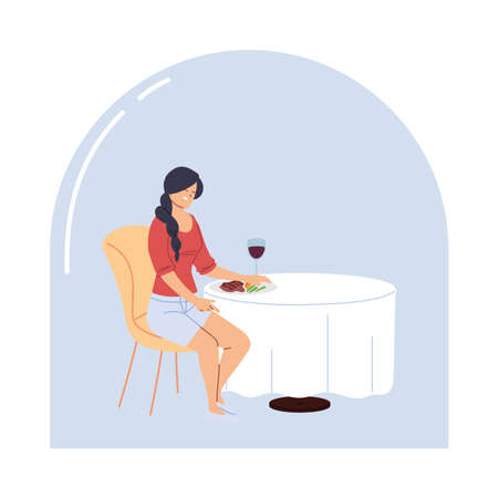 Young woman sitting in a restaurant having dinner with a glass of wine vector illustration design