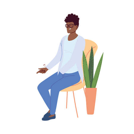 young man in casual clothes sitting on a chair next to a pot vector illustration design