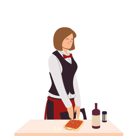 woman waitress with food on table vector illustration design
