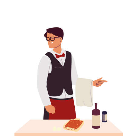 young waiter with towel hand and food on table vector illustration design