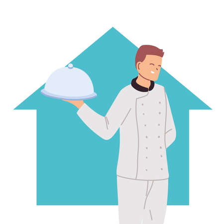 professional chef man at home vector illustration design