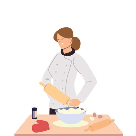woman chef pastry with table of work vector illustration design