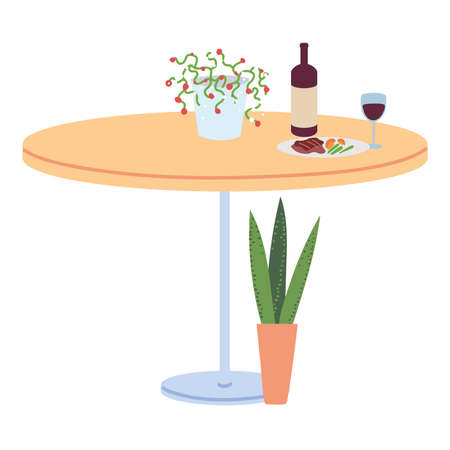 restaurant table with food, wine bottle and vase of flowers on white background on white background vector illustration design