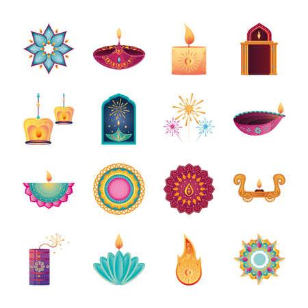 set of icons for india festival of lights over white background vector illustration design