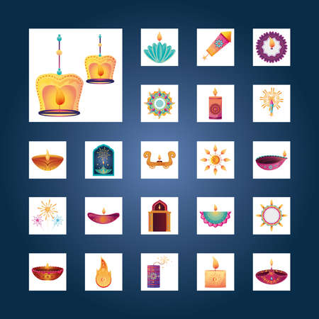 set of icons for india festival of lights vector illustration design