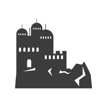 rocky mountains with construction city vector illustration silhouette