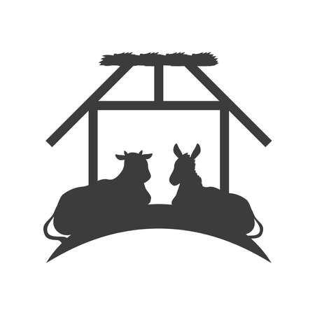 ox and donkey animals in the stable silhouette vector illustration silhouette Vector Illustration