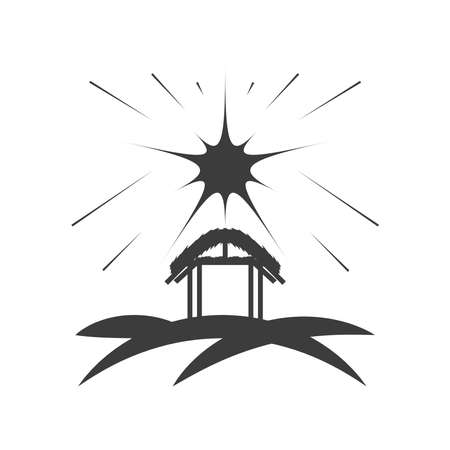 nativity, stable with star in the sky, traditional celebration religious vector illustration silhouette