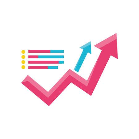 data analysis profit arrows development business detailed vector illustration Illustration