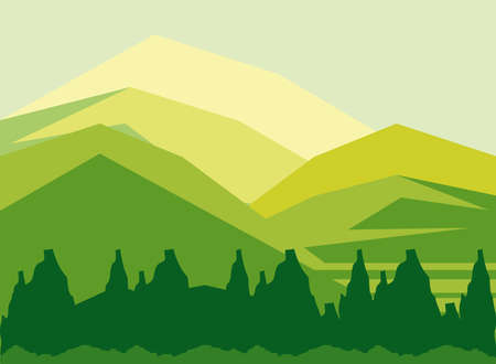 landscape mountains hills and forest nature background vector illustration