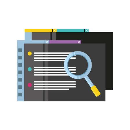 data analysis document financial report with magnifying glass detailed vector illustration