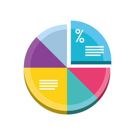 data analysis pie chart for business reports and financial presentation detailed vector illustration