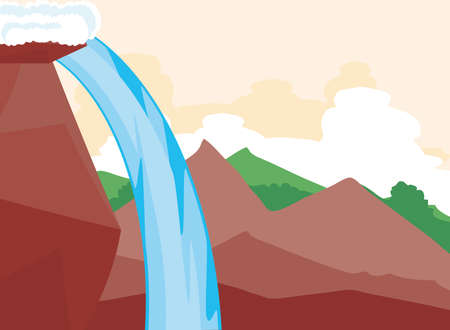 landscape view side rocky mountains waterfall vector illustration Ilustrace