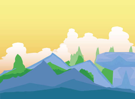 landscape rocky mountains and greenery forest clouds sky vector illustration