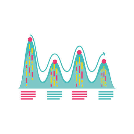 data analysis graph financial business planning report detailed vector illustration